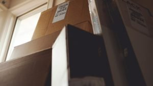 Moving boxes can be placed in a rented storage container
